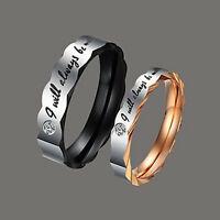 Titanium Steel Couple's Wedding Band Ring Lover's Engagement Promise Rings Gift