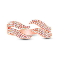 0.35 CT 14K Rose Gold Round Diamond Pave Claw Open Cocktail Statement Ring