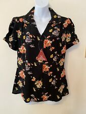 The Seamstress Of Bloomsbury Judy Blouse in Black Mayflower Size 12 BNWT RRP £39