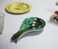Ceramic Spoon Rest Hand Painted in Green