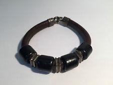 Pulsera Piel Marrón y Plata con Madera Ébano - Brown Leather & Silver Bracelet
