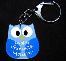 """Porte-clés chouette bleue message """"Le plus chouette Maître"""" cadeau maître"""