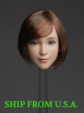 "1/6 Female Head Sculpt A Short Brown Hair For 12"" PHICEN Hot Toys Figure ❶USA❶"