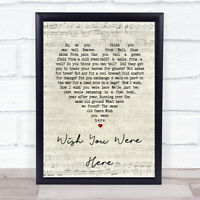 Pink Floyd Wish You Were Here Script Heart Song Lyric Quote Print