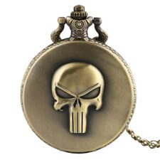Retro Bronze Quartz Pocket Watch Skull Skeleton Head Design Necklace Xmas Gift