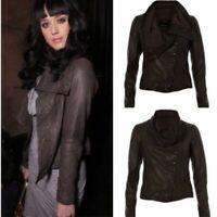 ALLSAINTS SPITALFIELDS   Womens Brown Leather Kaito Jacket [ Size AU 8 or US 4 ]