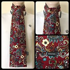 PRETTY SOUL BURGUNDY, BLUE & YELLOW PAISLEY HANDMADE MOD SCARF SCOOTER 60s RETRO