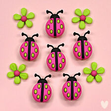 Dress it Up Buttons Ladybug Crossing 9385 - Lady Birds Ladybird Easter Flowers