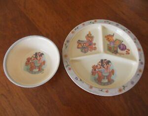 Vtg.DISNEY'S Selandia Melamine Child/Baby MICKEY & MINNIE Divided Plate & Bowl