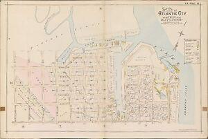 1896 ATLANTIC CITY NEW JERSEY BUCKS & GARDINER'S BASIN ABSECON INLET ATLAS MAP