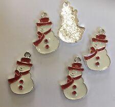 Red & White PUPAZZO DI NEVE CIONDOLO SMALTO in metallo (Natale Craft?) X 5