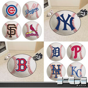 "MLB Teams Baseball Logo Shaped 27"" Diameter Round Floor Door Mat Area Rug Carpet"