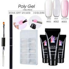 Poly Builder Gel DIY Kit Jelly Crystal Nail Art Glue Quick Extension POLYGEL set