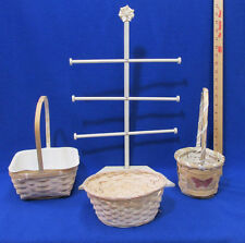 Vintage Wood Rack & Wicker Baskets White Wash Country Style Lot of 4