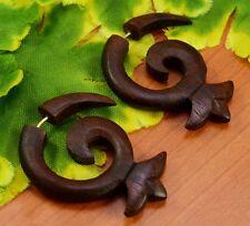 Tibetan Brown Wooden Handmade African Tribal Wood Fake Gauge Earrings EAR403