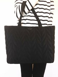 NWT Kate Spade Ellie Large Tote Black Nylon Shoulder Bag WKRU5826