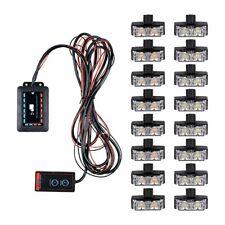 Amber White 32 LED Deck Dash Grill Emergency Warn Strobe Light Bar w/ Controller