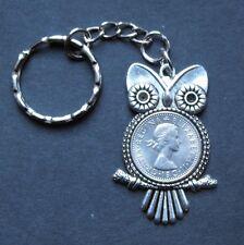 Queen Elizabeth Sixpence Owl keyring charm Royal British Souvenir + present box