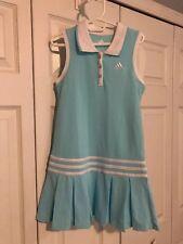 Adidas Girls Polo Dress Size 6 Aqua Blue Sleeveless Tennis Golf