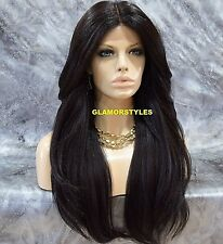 Long Layered With Bangs Dark Brown Full Lace Front Wig Heat Ok Hair Piece #2 NWT