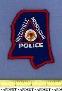 GREENVILLE (Old Vintage) MISSISSIPPI Police Patch STATE SHAPE MESH CHEESECLOTH