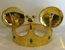 Disney Kids Mickey Mouse Ears Gold Crown Blue Stones Padded Inside Headband 22''