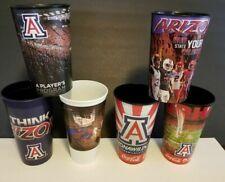 6-Ncaa- University Of Arizona In Tucson Logo Hard Plastic Cups Excellent Cond.