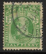NEW ZEALAND 1909 KING EDWARD VII ½d Half Penny GREEN USED (No 5)