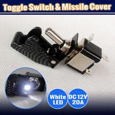 WHITE LED LIGHT CARBON MISSILE SWITCH (MISSILE COVER + 12V ON/OFF LED TOGGLE)