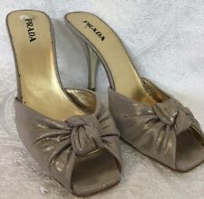 Prada Shoes Brushed Gold Open Toe Knot Fabric Front Slide Size 40 1/2