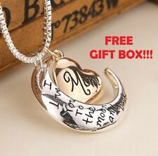 Mothers Day Best Gifts I Love You To The Moon & Back Mom Necklace Pendant
