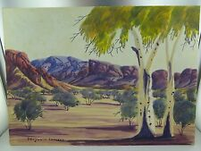 .VINTAGE BENJAMIN LANDARA (1921-85) HERMANNSBURG WATERCOLOUR ON BOARD.