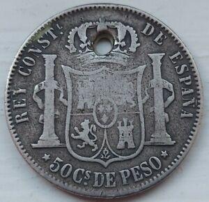 Rare 1885 Silver Philippines/Spain 50 Centimos