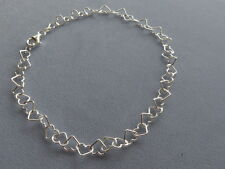 "New Italian Sterling Silver Ankle Bracelet- 11"" Open Heart Link- 7mm-Italy 925"