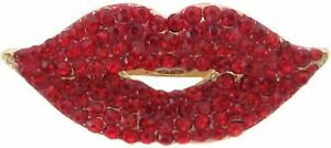 Gold Plated Bright Red Crystal Lips Brooch Make Up Artist Lips Lapel Pin New