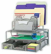 Mesh Desk Organizer with Sliding Drawer, Silver