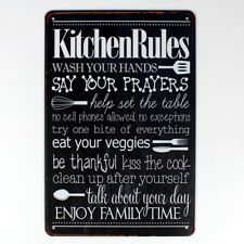 kitchen rules Metal Tin Sign  Decor Bar Pub Home Vintage Retro