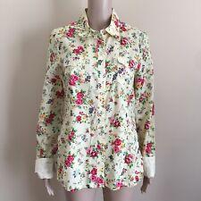 Lei NEW Junior XL Elena Yellow Floral Long Sleeve Shirt Snap Rose Button Up