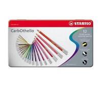 Stabilo CarbOthello Artist Pastel Chalk Colouring Pencils - 12 Colour Metal Tin