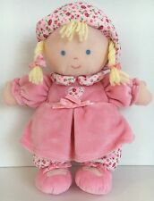 Carters Baby Rattle Plush Pink Dress Flowers Hat Blonde