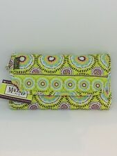 Maggi B Quilted Hands Free Wallet on Rope Strap French Country Key Lime Green
