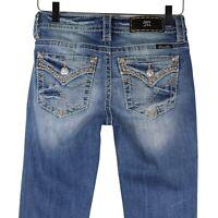 Miss Me Womens Boot Cut Jeans Blue Mid-Rise Slim Medium Wash Rhinestones 25 x 34