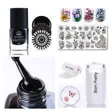 4Pcs BORN PRETTY Nail Art Stamping Polish Flower Stamp Plate Stamper Scraper Kit