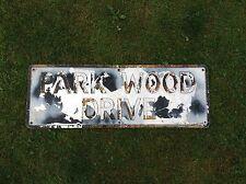 Vintage Road / Street Name Sign PARK WOOD DRIVE Rare Barn Find