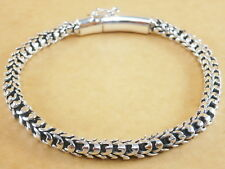 """Handmade Oxidized 925 Sterling Silver Bali Style Scales Chain Bracelet 7.75"""" 29g"""