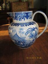 CREIL en creux - Gros pot avec couvercle , décor camaieu bleu ,personnes,cheval,
