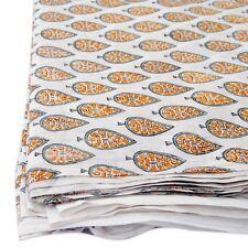 Indian Hand Block Print Cotton Fabric Sanganeri Handmade Printed 10 Yards HDOFF