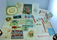 Christmas Cards Lot 25 Vintage Holly Hobbie Religious Sparkly Use For Crafting