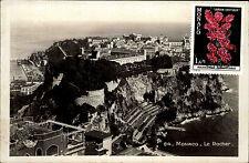 Monaco Le Rocher AK CPA alte Postkarte ~1930 frankiert mit neuerer Briefmarke