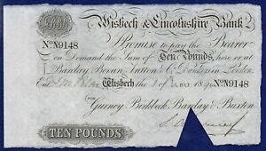GB, Lincolnshire, Wisbech & Lincolnshire Bank 1894 £10 Banknote (Ref. b1112)